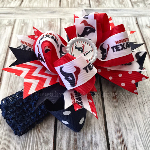 Houston Texans Baby Headband,Texans Hairbow, Houston Texans Hair Bow