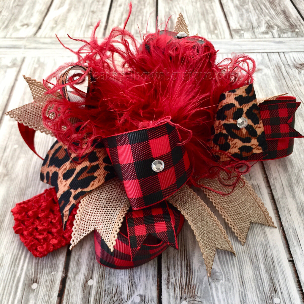 Buy Buffalo Plaid Hair Bow Burlap Leopard, Burlap Cheetah Buffalo Plaid Over the Top Hair Bow Online
