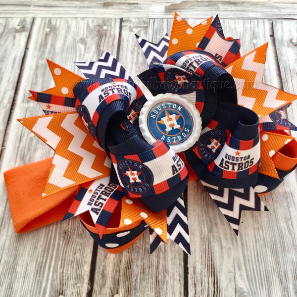 Houston Astros Baby Headband,Astros Hairbow,MLB Baby Headband