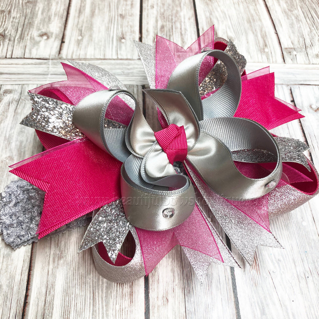 Metallic Silver and Fuchsia Hair Bow, Silver and Fuchsia Headband