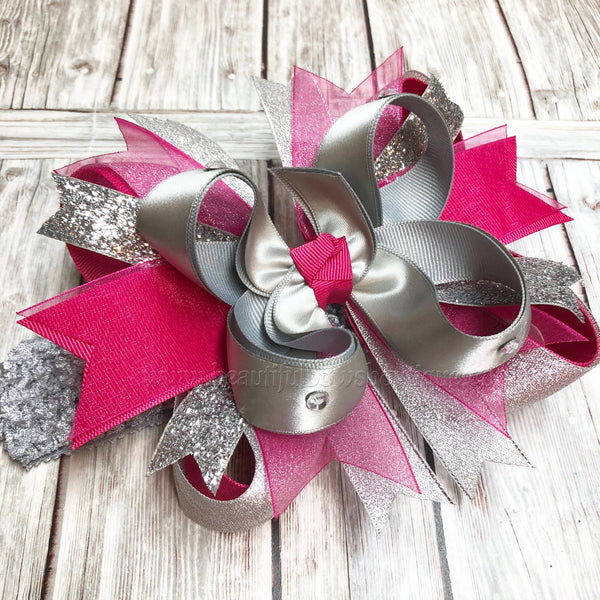 Buy Metallic Silver and Fuchsia Hair Bow, Silver and Fuchsia Headband Online