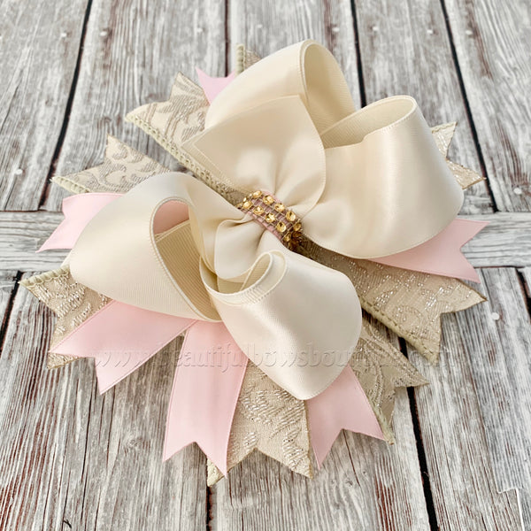 Buy Cream Blush Hair Bow, Satin Hair Bow, Pink Gold and Ivory Baby Headband Online