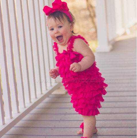 Buy Hot Pink Lace Romper,Hot Pink Romper Baby Infant Toddler Online