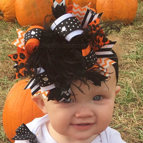 Over the Top Stacked Hair Bow Black and Orange Big Boutique Bow Halloween