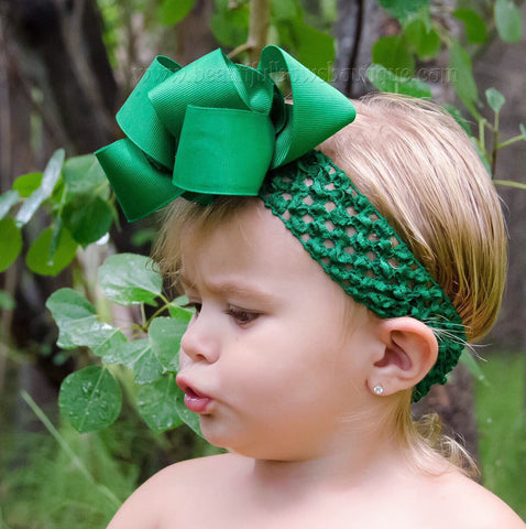 Emerald Green Double Loop Boutique Hair Bow Baby Headband
