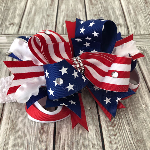 4th of July Hair Bow, July 4th Baby Bow