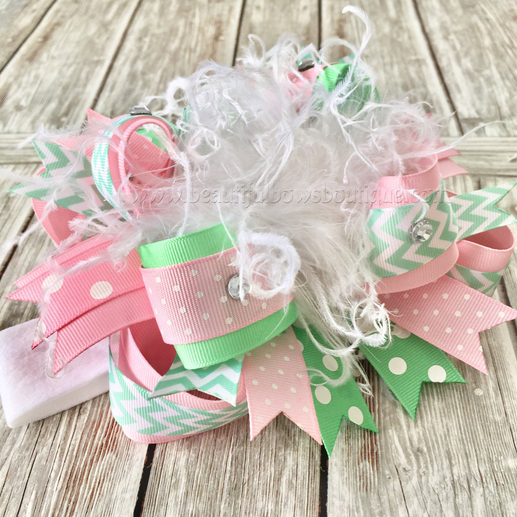 Buy Pink and Mint Over the Top Hair Bow,Mint and Pink Bow Headband,Easter Bows Online