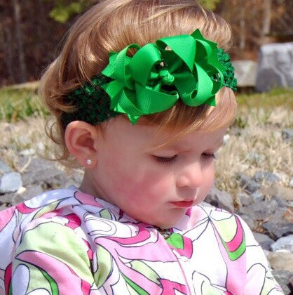 Dainty Emerald Green Layered Girls Hair Bow Clip or Headband Set