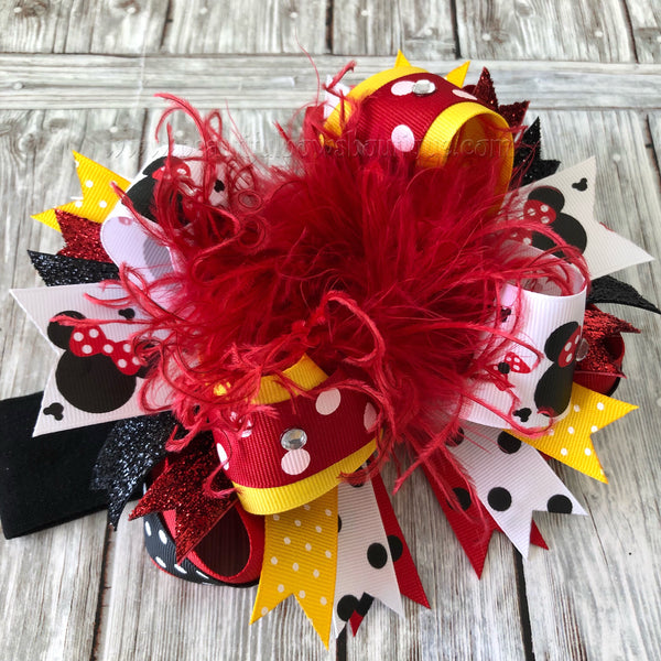 Black Red and Yellow Minnie Mouse Over the Top Hair Bow Headband