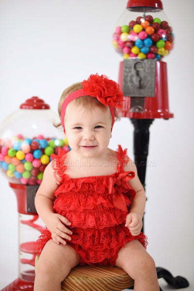 Buy Red Lace Romper and Flower Headband,Vintage Red Lace Romper Online