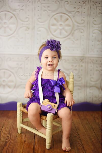 Purple Lace Romper and Flower Headband,Vintage Purple Lace Romper