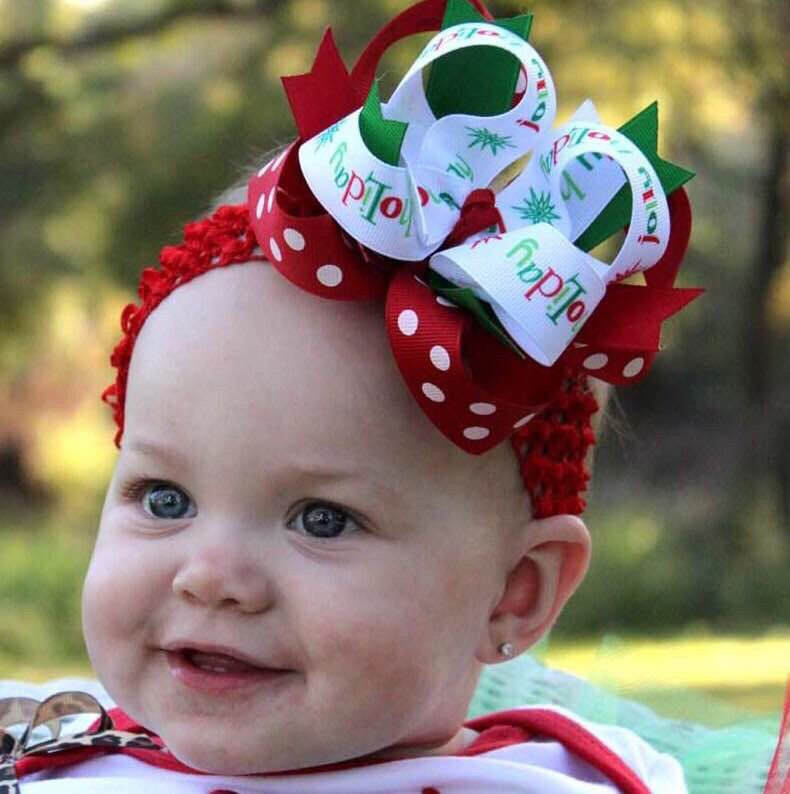 Jolly Holiday Christmas Baby Headband Toddler Hair Bow