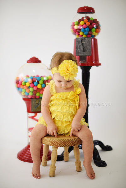 Yellow Lace Romper and Flower Headband,Vintage Yellow Lace Romper