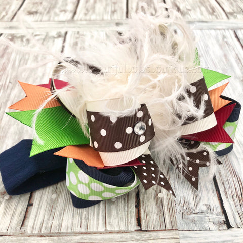 Navy Green Brown Orange and Ivory Fall Bow Headband for Babies