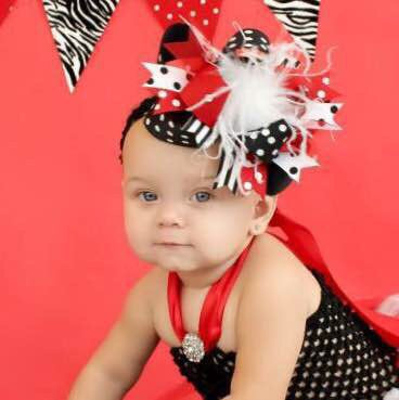 Buy Red and Black Over The Top Hair Bow, Red and Black Headband Online