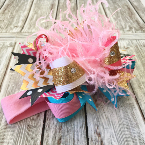 Buy OTT Bow Headband Pink Blue Gold,Over the Top Bows Pink and Teal,Birthday Cake Smash Headbands Online