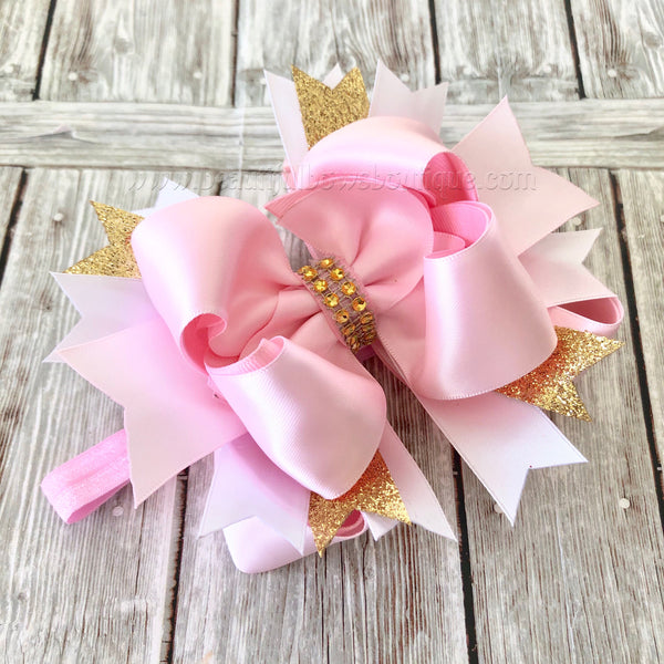 Pink Blush and Gold Hair Bow, Satin Hair Bow,Girls Hairbows