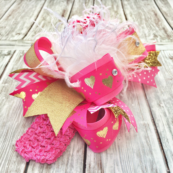 Hot Pink and Gold Valentine's Day Hair Bow Over the Top Bows,OTT Hairbows,Valentine Baby Headband Pink and Gold,Big Bows,Girls Big Hair Bow