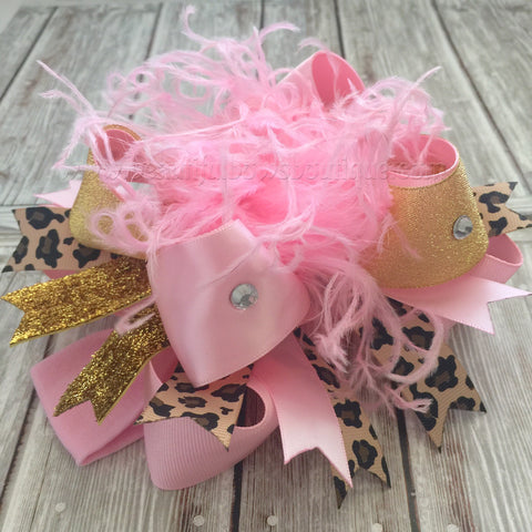 Buy Pink Leopard and Gold Hair Bow,Over the Top Bow Leopard Pink Gold Online