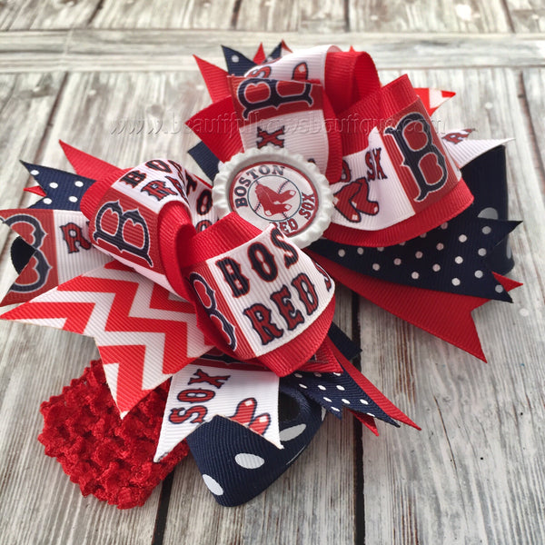 Boston Red Sox Baby Headband,Red Sox Hairbow,MLB Baby Headband