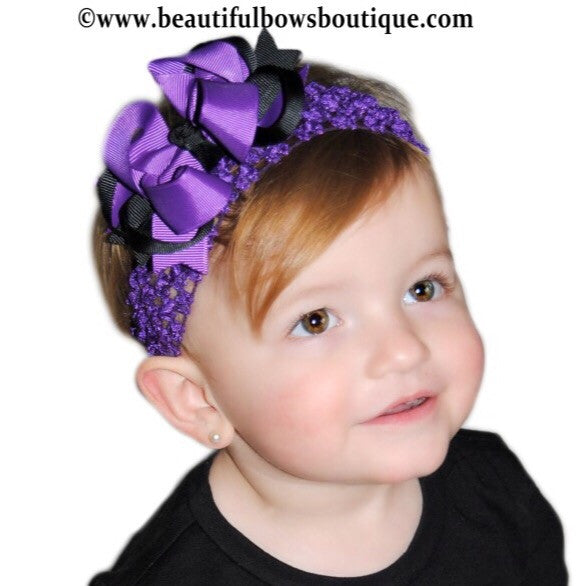 Dainty Purple and Black Layered Girls Hair Bow Clip or Headband Set