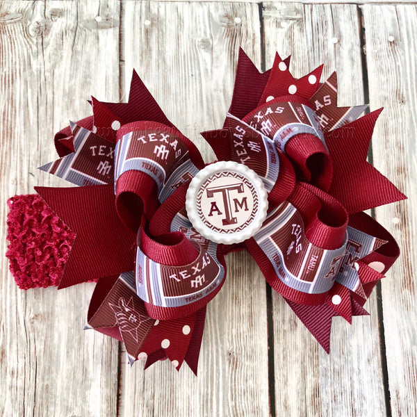 Buy Texas A&M Hair Bow, Texas Aggie Over the Top Baby Headband,Aggie Hairbow Online