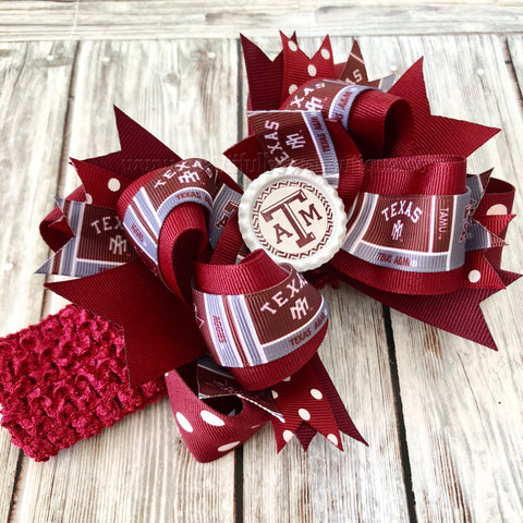 Texas A&M Hair Bow, Texas Aggie Over the Top Baby Headband,Aggie Hairbow