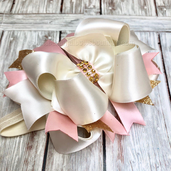 Buy Ivory Blush and Gold Hair Bow, Satin Hair Bow, Baby Headband Online