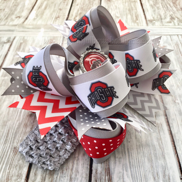 Buy Ohio State Baby Headband Buckeyes Baby Girl Hair Bow Infant OSU Online