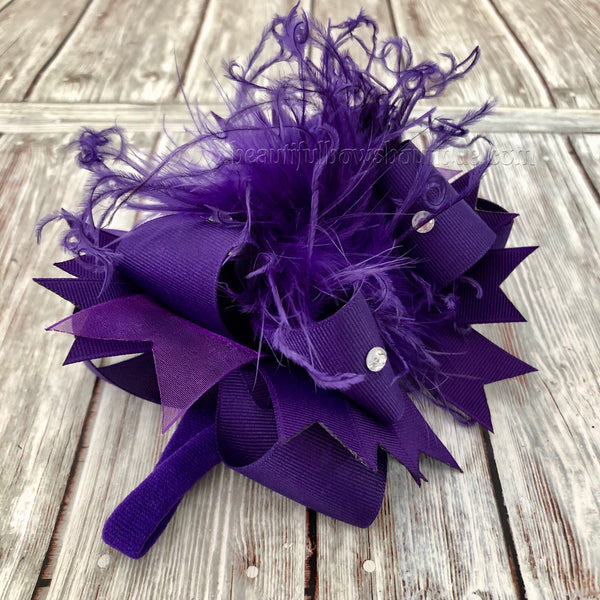 Buy Small Purple Newborn Over the Top Bow Headband,Mini Over the Top Bows Online