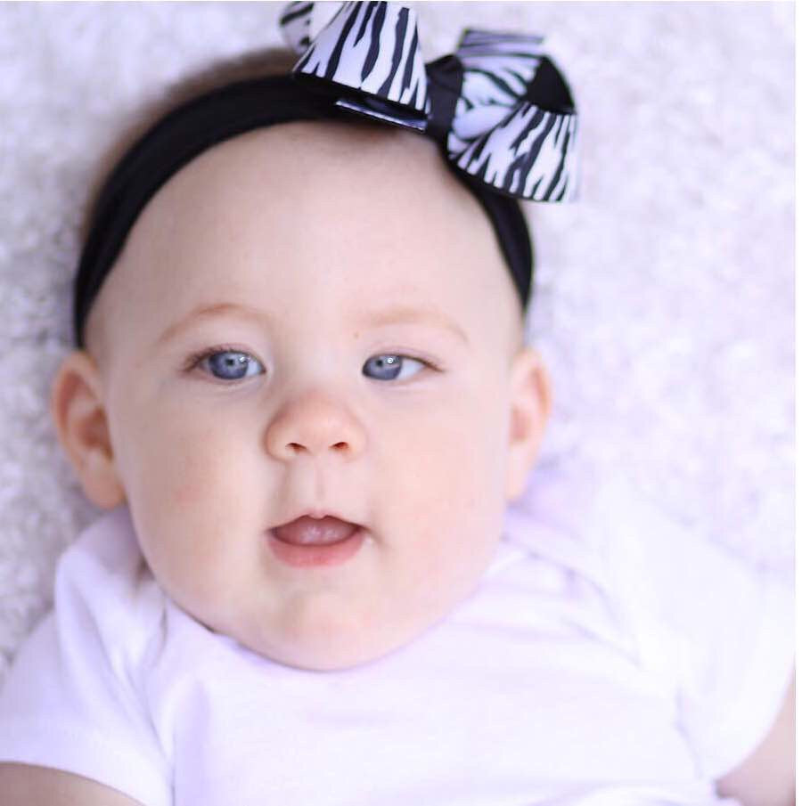 Newborn Zebra Print Baby Headband, Zebra Infant Bow