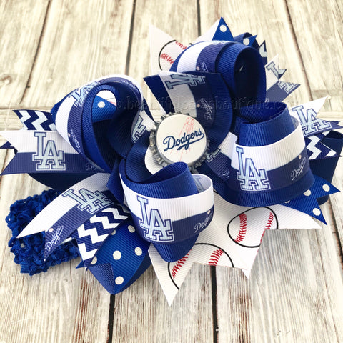 LA Dodgers Baby Headband,Los Angeles Dodgers Hairbow,MLB Baby Headband