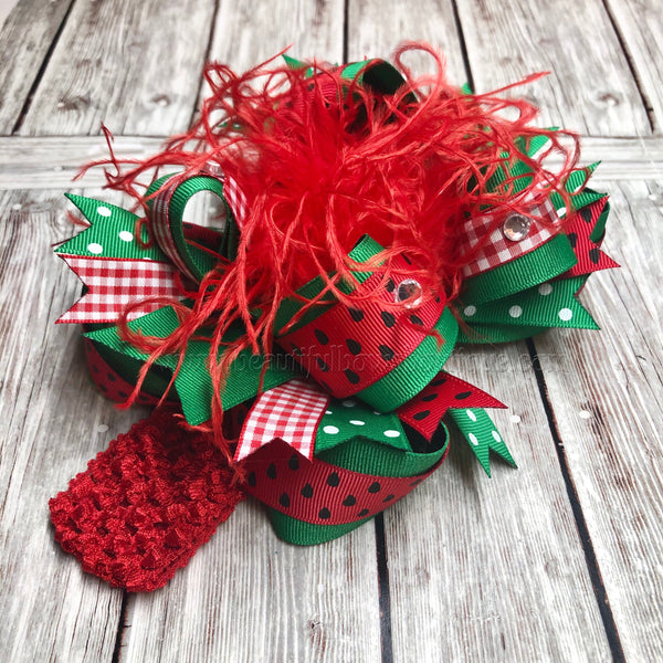 Red Watermelon Hair Bow,Watermelon Birthday Headband,One in a Melon 1st Birthday
