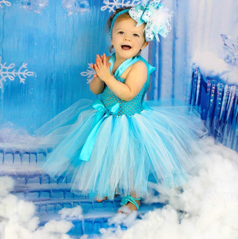 Fancy Frozen Inspired Turquoise Blue and White Toddler Baby Tutu Dress