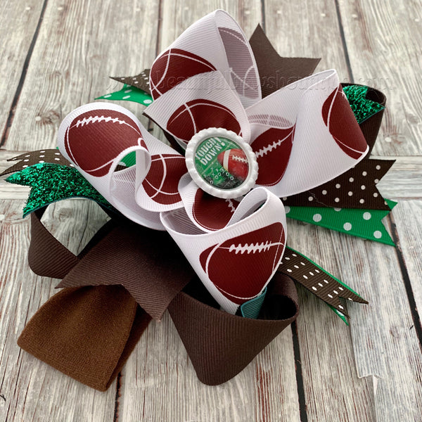 Football Hair Bow,OTT Football Hair Bow,Football Baby headbands,Infant Headband