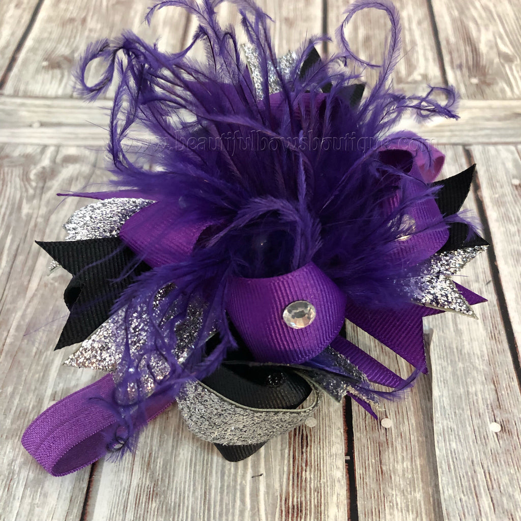 Buy Over the Top Newborn Headband Purple Black and Silver Glitter Online