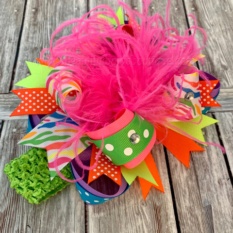Neon Hair Bow, Summer Bows, Big Hair Bow