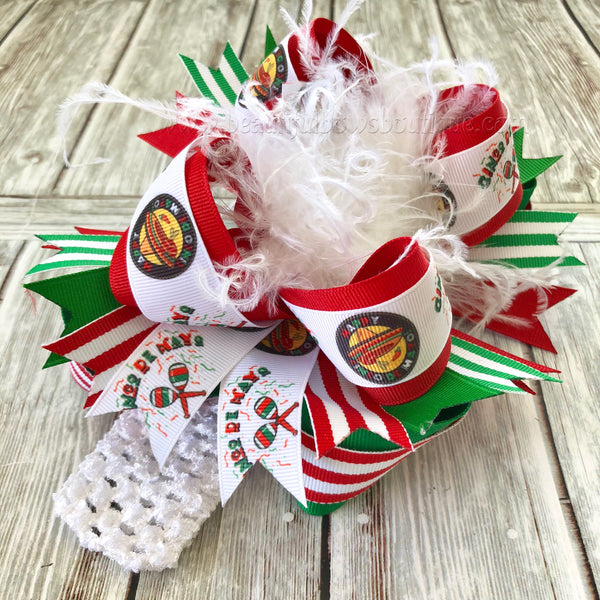 Cinco De Mayo Over the Top Hair Bow, Cinco De Mayo Baby Headband