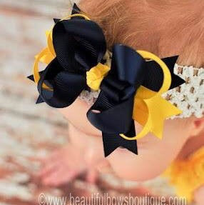 Dainty Navy & Yellow Layered Girls Hair Bow Clip or Headband Set