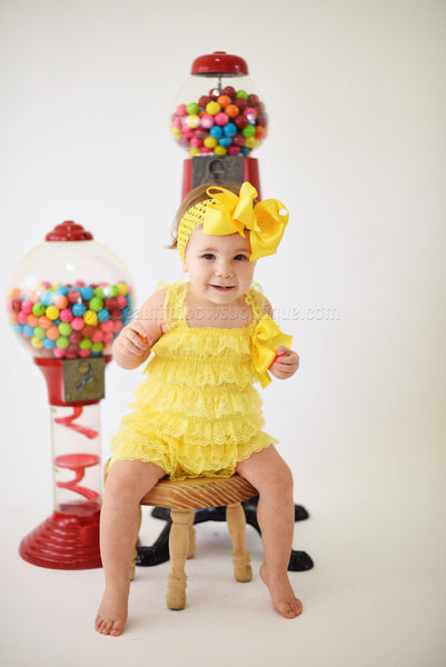 Yellow Lace Romper, Petti Lace Romper Yellow, Ruffle Yellow Bodysuit