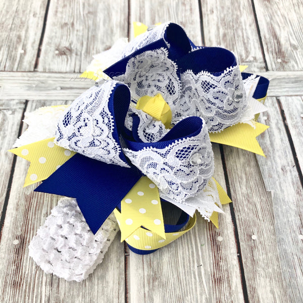 Royal Blue and Yellow Easter Hair Bow,White Lace Blue and Yellow Bow
