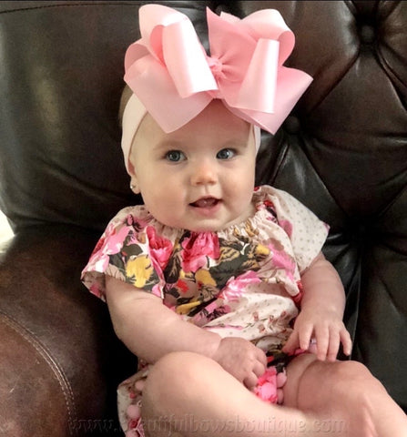 Large Pink Hair Bow, Pink Baby Headband, Huge Pink Baby Bow