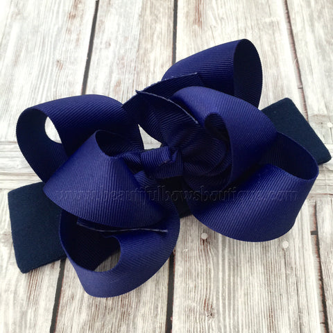 Navy Blue Baby Headband, Navy Boutique Bow, Navy Hair Bow