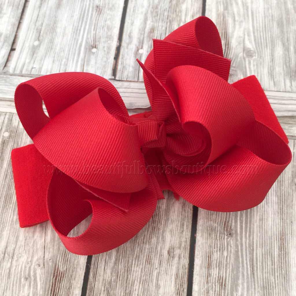 Red Baby Headband, Red Boutique Bow, Red Hair Bow
