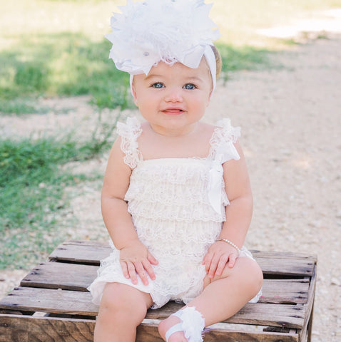 Buy Petti Lace Romper,Lace Romper White,Ruffle Lace Baby Clothes,White Baby Romper Online