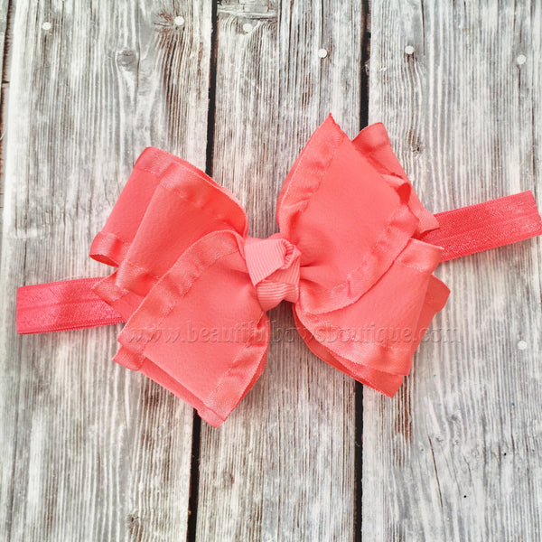 Buy Coral baby headband,double ruffle bows,infant headband,baby headbands,hair bows for girls,little girl hair bow,coral hairbow,frilly baby bow Online