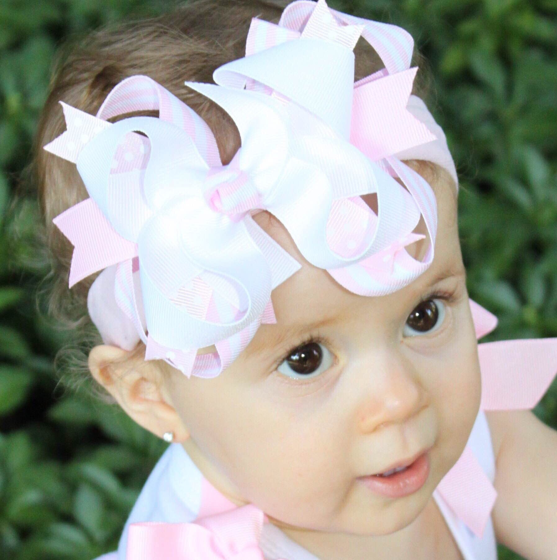 Buy White and Blush Pink Hair Bow White Pale Pink Baby Headband Online at  Beautiful Bows Boutique 53e0e285dc6