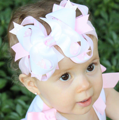 Buy White and Blush Pink Hair Bow White Pale Pink Baby Headband Online