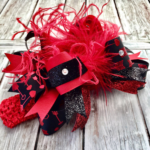 Buy Red and Black Valentine's Day Hair Bow Over the Top,Valentine Hair Bows Red Black,Heart Arrow Valentine Hair Bow Headband for Girls and Baby Online