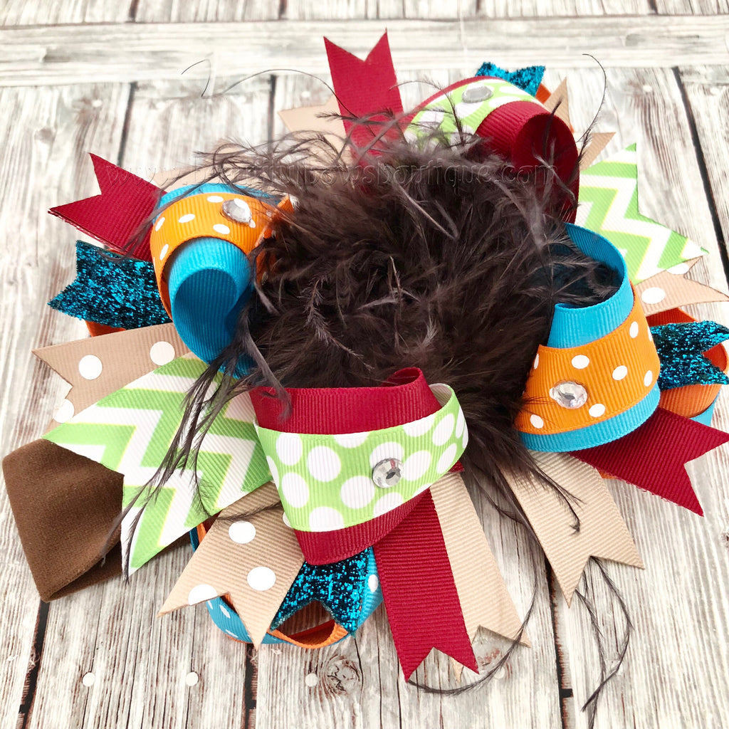 Colorful Fall Over the Top Hair Bow Clip, Baby Girl Fall Bows OTT Headband